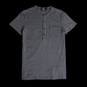RRLSTRIPED COTTONHENLEY NECK TEE